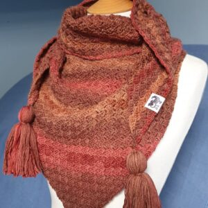 Merino Triangle Scarf, autumn colours, tassels, Scruffy Dog Creations