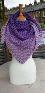 Scruffy Dog Creations, Purple Puff Stitch Triangle Scarf