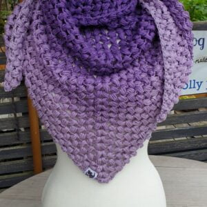 Scruffy Dog Creations, Purple Puff Stitch Triangle Scarf