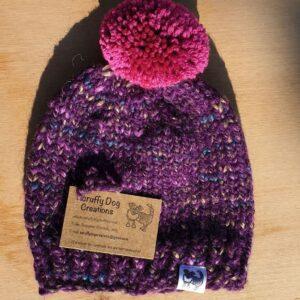 Scruffy Dog Creations, Dark Purple Bobble Hat, Adult Hat, Pink Bobble