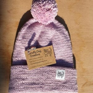 Scruffy Dog Creations, Double Layer Merino Bobble Hat, Pink and Lilac, Adult Hat