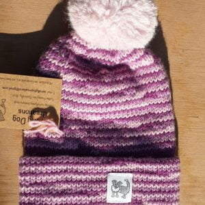 Scruffy Dog Creations, Double Layer Merino Bobble Hat, Pink and Purple, Kids Hat, Pink Fluffy Bobble