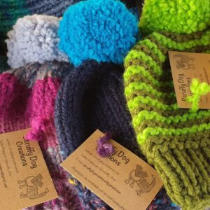 Scruffy Dog Creations, Bobble Hats, Colourful, Woolly
