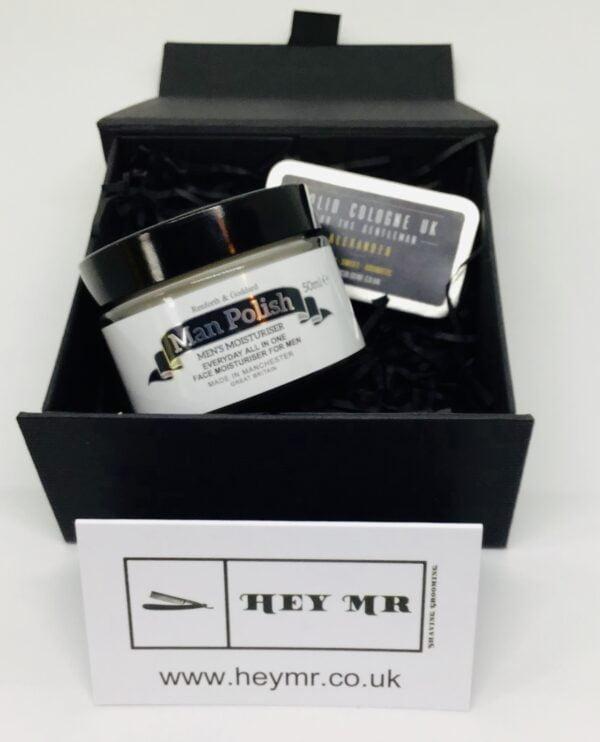 Heymr moisturiser and solid cologne gift box