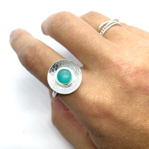 Silver statement ring, Amazonite ring, silver disc ring