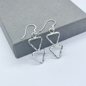 Silver triangle earrings, silver arrow earrings