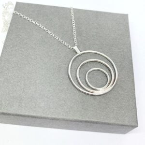 Large silver circle necklace