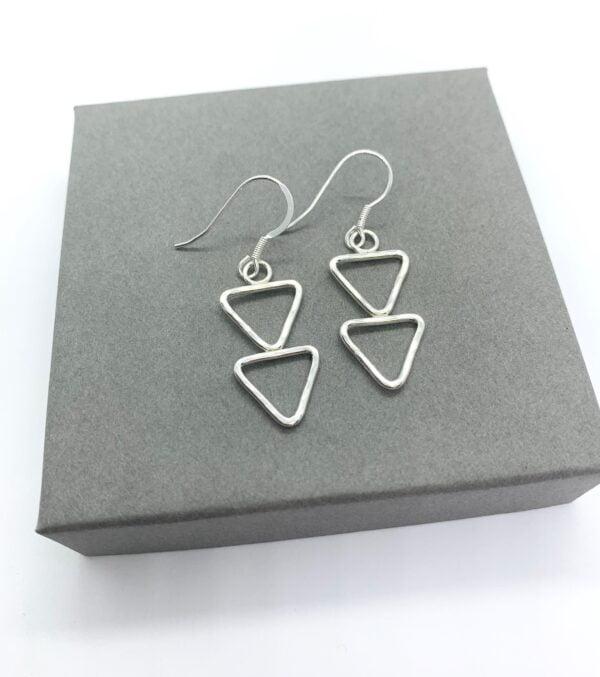Silver triangle earrings, silver arrow earrings
