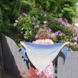 Scruffy Dog Creations, Blue to Tan Fade Cotton Wrap Shawl