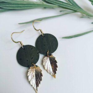 Khaki autumn leaf earrings