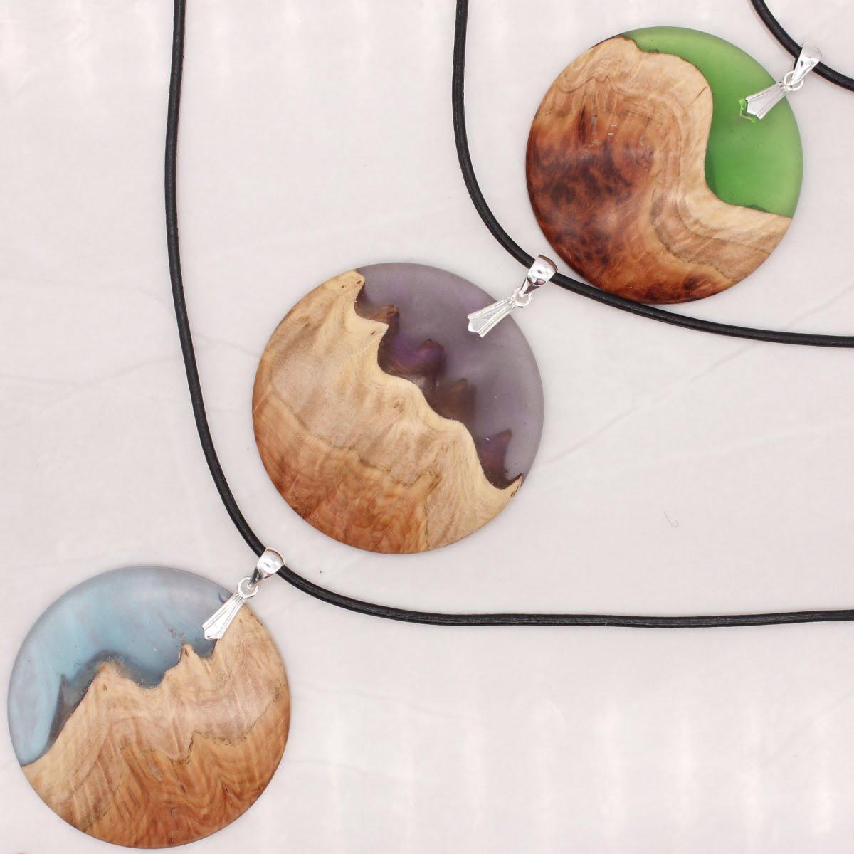 """Landscape"" wood and resin pendants"