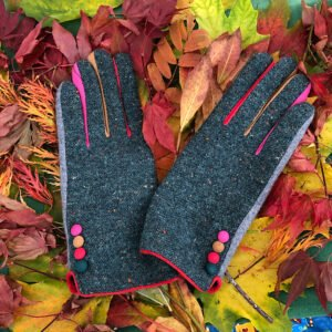 teal stylish tweed button gloves