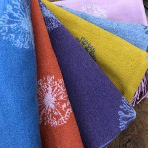 photograph of colour range of dandelion scarf