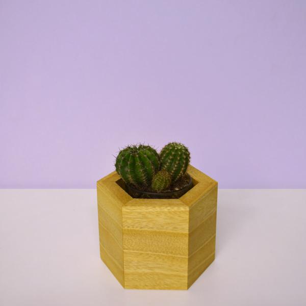 hexagonal wood vases idigbo