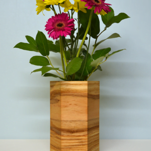hexagonal wood vases ash