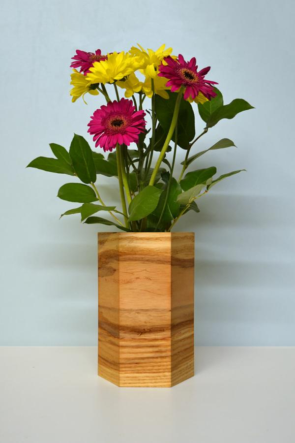 hexagonal wood vases ash