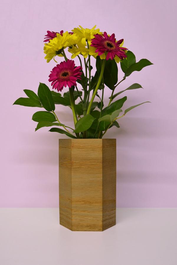 hexagonal wood vases oak