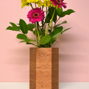 hexagonal wood vases shorea