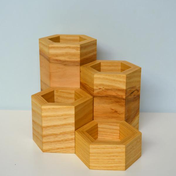 hexagonal vase collection ash