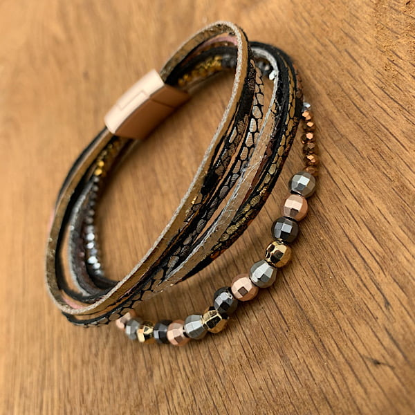 Beaded Multistrand Magnetic Bracelet.