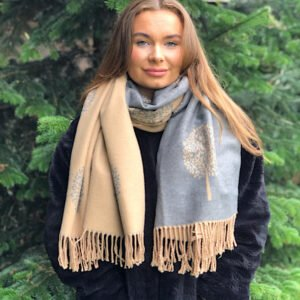 Camel and grey mulberry scarf