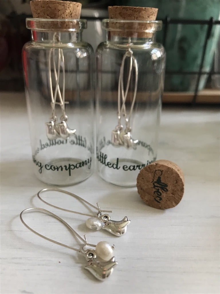 Silver Bird and Pearl Earrings