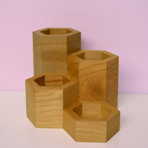 hexagonal vase collection oak