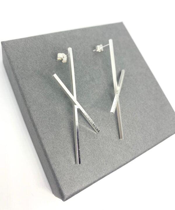 Silver statement earrings