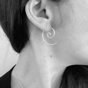 Small silver spiral threader earrings