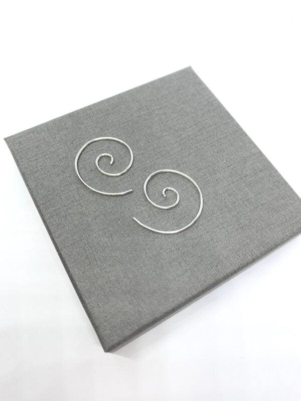 Small silver spiral threader earrings