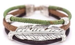 Cork Leaf Bracelet Green