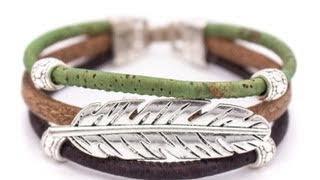Cork Leaf Bracelet Green