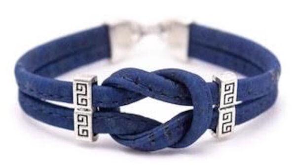 Cork Navy Infinity Bracelet