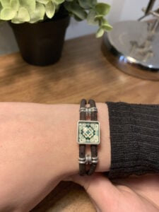 Cork Bracelet with Green Ceramic tile