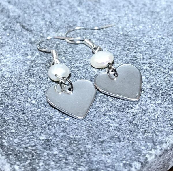 Silver Heart and Pearl Earrings 2
