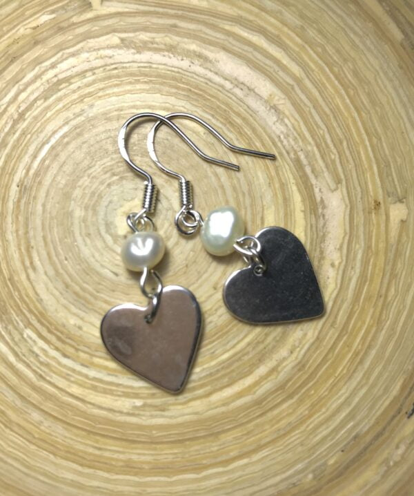 Silver Heart and Pearl Earrings 3
