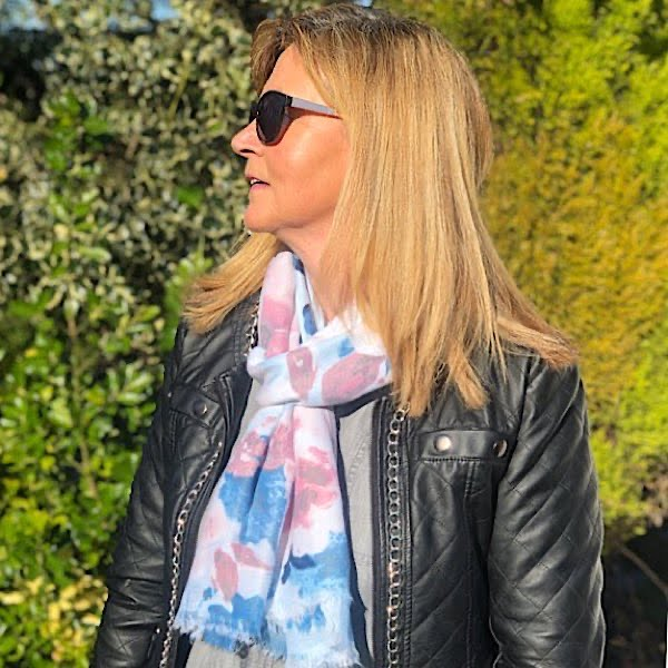 Blue and Pink floral scarf