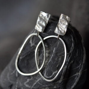 Silver texture earring